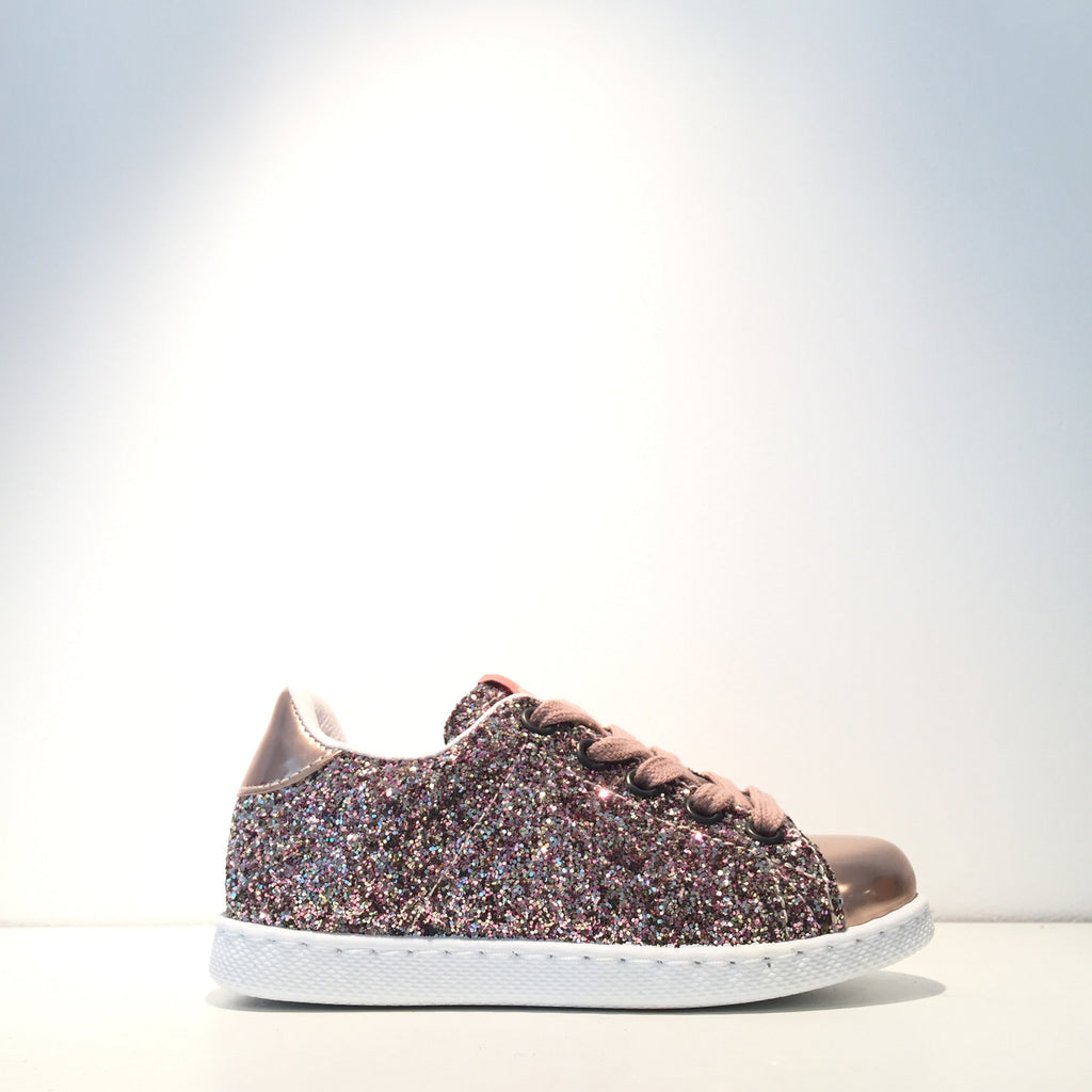 Kid's Fashion Rose Gold Glitter Rose Gold Sneaker