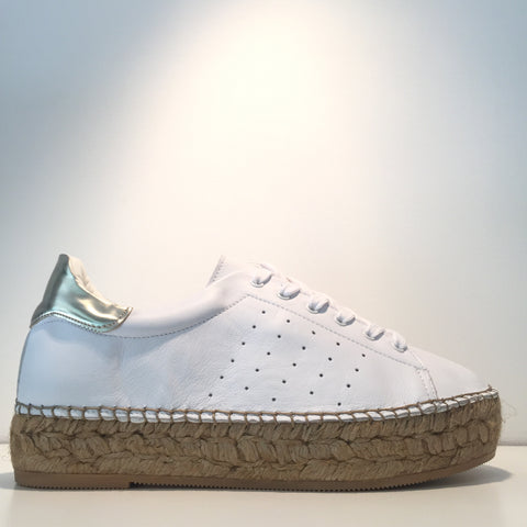 Fashion White Leather Gold High Gloss Espadrille Sneaker