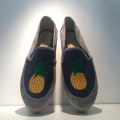 Denim Slip On Pineapple Embroidery Sneaker Platform