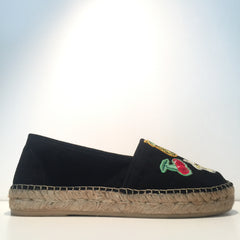 Elegant Black Suede Patch Espadrille