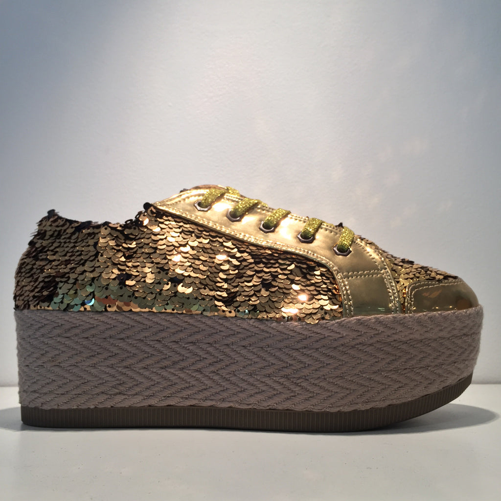 Gold Sequence Fashion Sneaker Platform