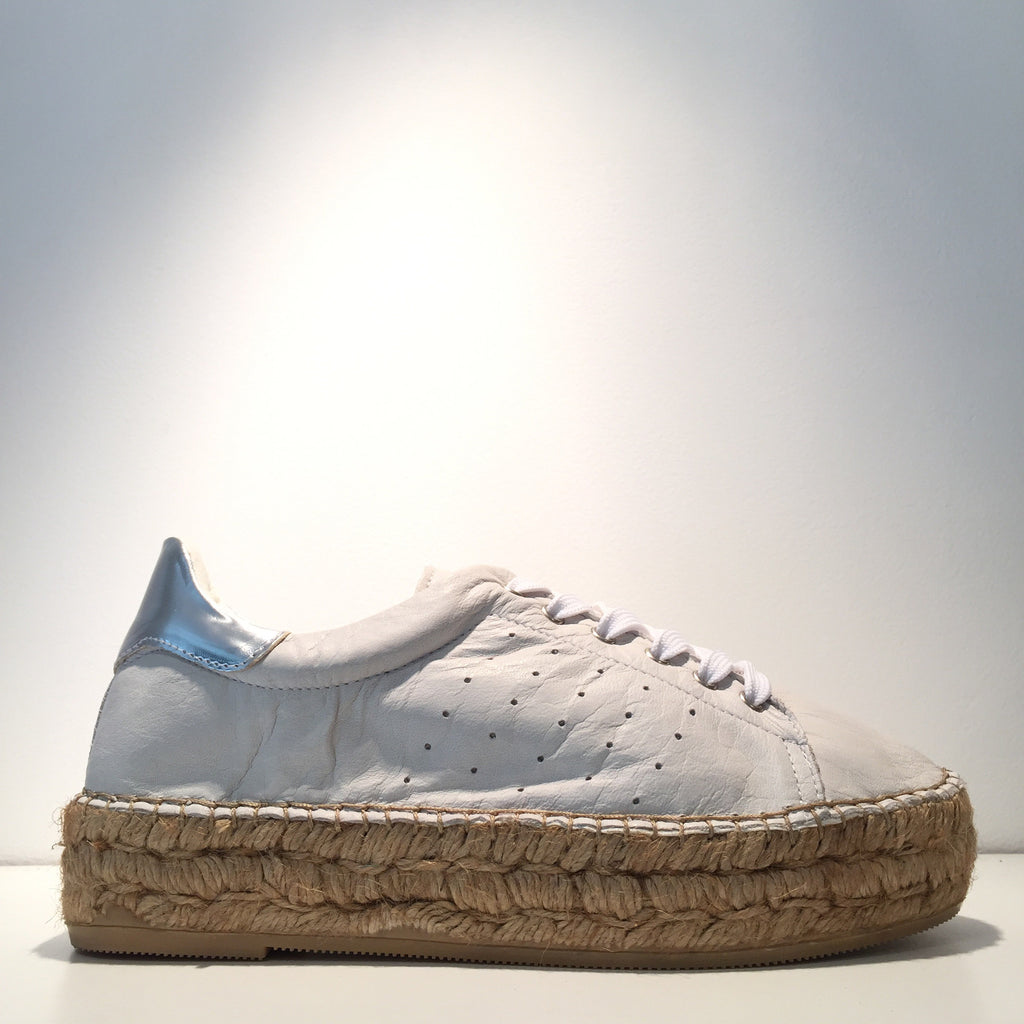 Fashion White Off Leather Silver High Gloss Espadrille Sneaker