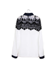 Shoulder Lace Patchwork Blouse