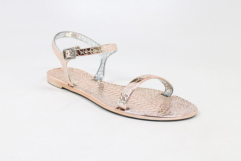 Summer Rose Gold Animal Print Sandal