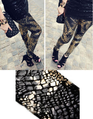 Gold Snake Print Leggings