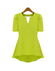 Summer Lime Green shirt with  puff short-sleeve