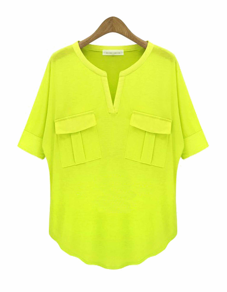 Summer Green V Neck Top