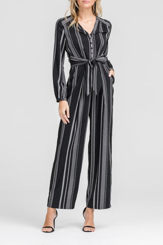 Fashion Black Stripe Contrast Tie-Up Jumpsuit with Long Sleeve