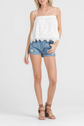 Fashion Strap White Floral Lace Top