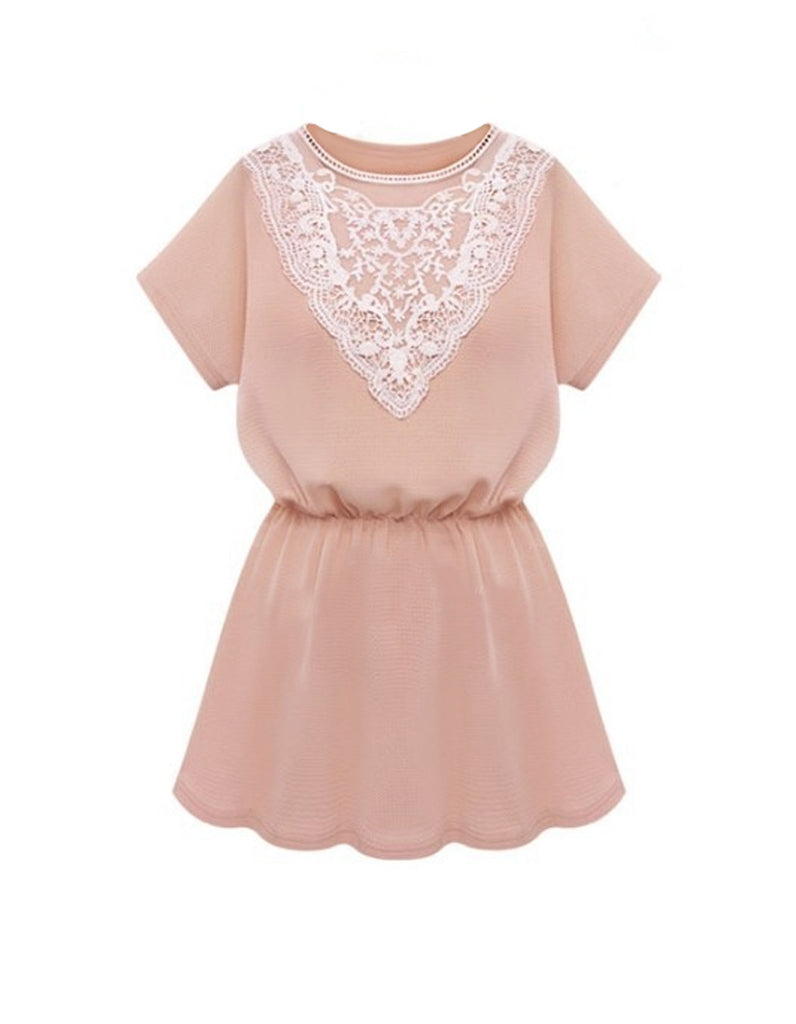 Lace Collar Casual Mini Dress