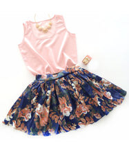 Floral Blue Vintage Mini skirt