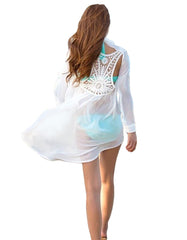 Summer Crochet Back Dress Shirt