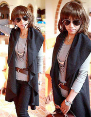 Fashion Dark Grey Wool Cape