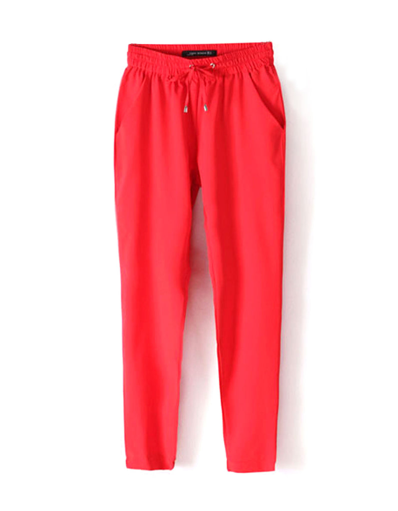 Red Casual Women Pants