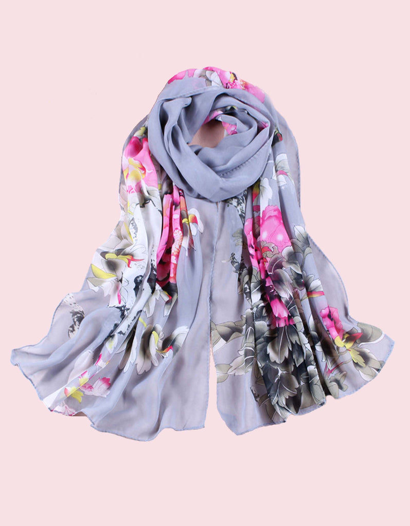 Grey Floral chiffon scarf for women