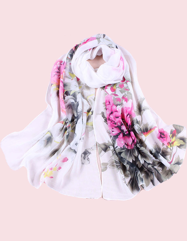 White Floral chiffon scarf for women