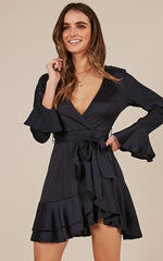 Elegant Black Satin Tie-Up Ruffle Dress with Bell Sleeve