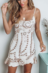 Elegant Strap White Gold Floral Sequence Ruffle Dress