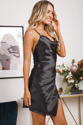 Elegant Strap V-Neck Satin Black Dress