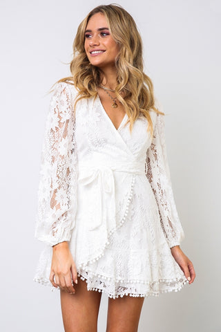 Elegant White Lace Pom Pom Detailed Wrap Tie-Up Dress with Long Sleeve