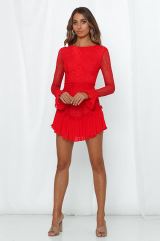 Elegant Red Floral Lace Ruffle Dress with Long Sleeve
