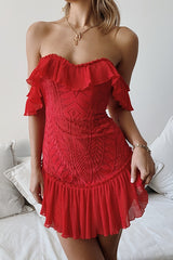 Elegant Off Shoulder Red Floral Lace Ruffle Dress