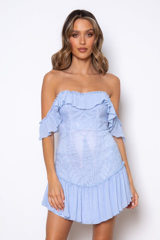 Elegant Off Shoulder Steel Blue Floral Lace Ruffle Dress