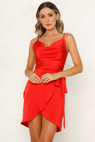 Elegant Strap V-Neck Satin Red Wrap Tie-Up Dress
