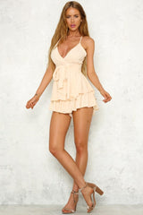 Fashion Strap Light Beige Checkered Tie-Up Ruffle Romper