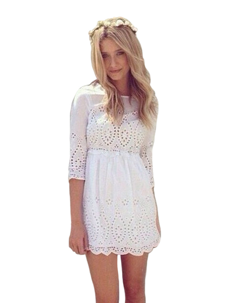 Summer Flower Hollow Out Mini Dress
