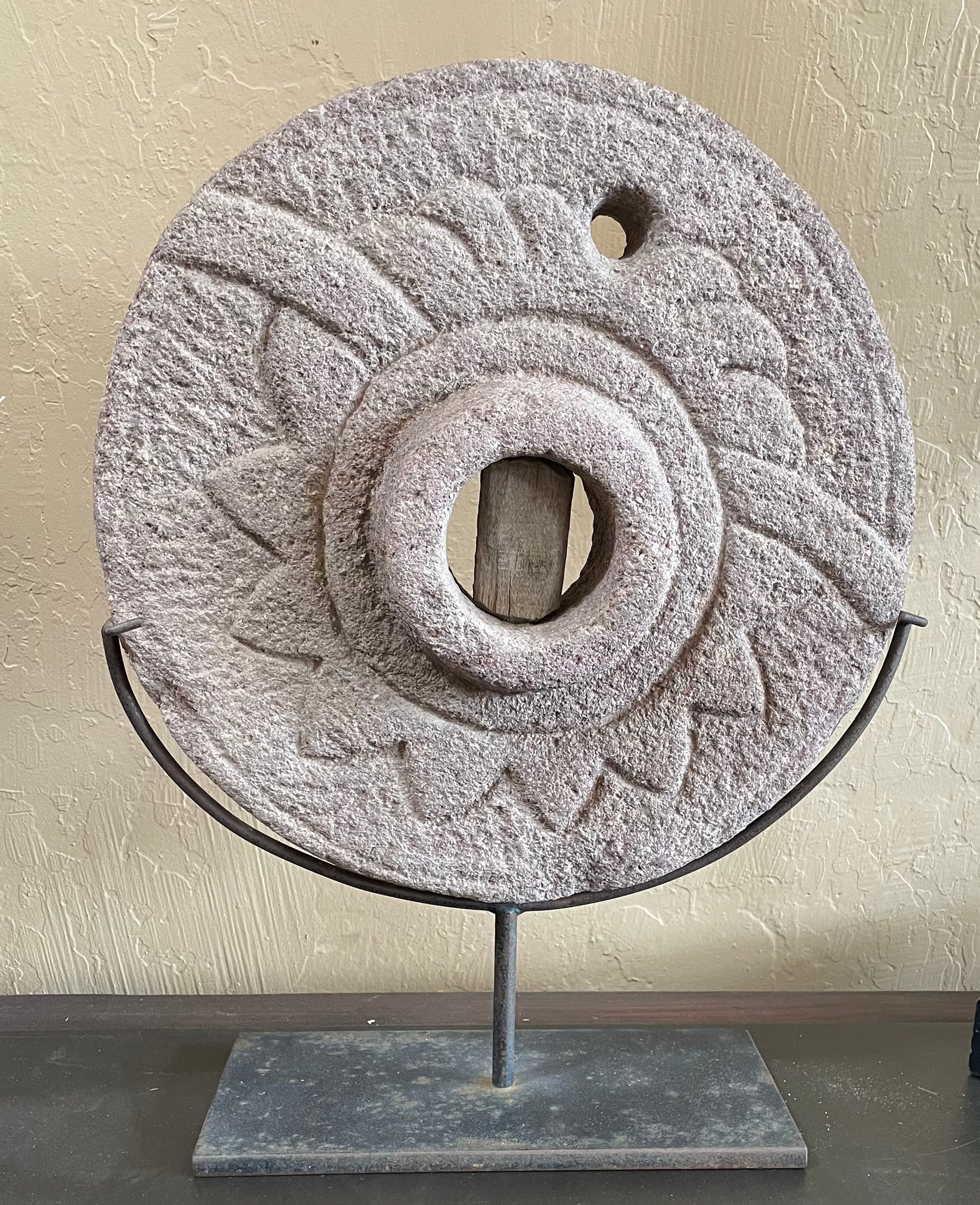 Antique Indian Carved Stone Wheel on Cast Iron Stand