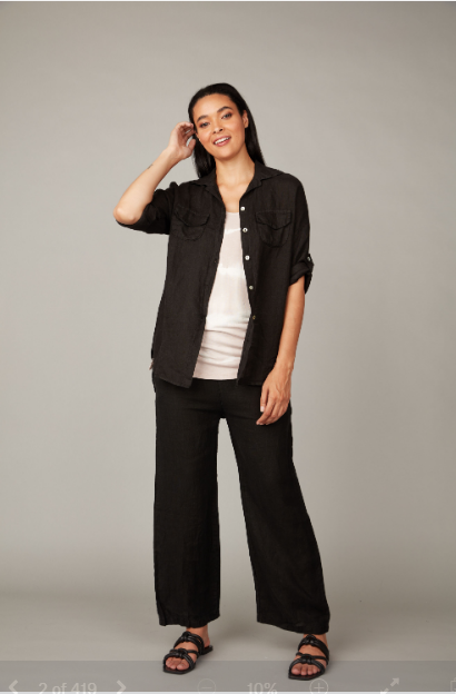 Pistache Black Double Pocket Blouse
