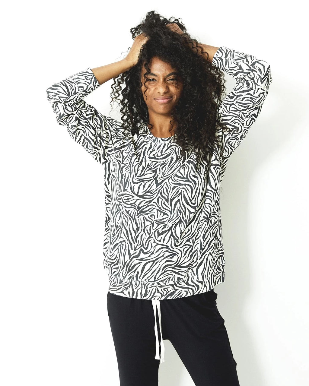 Stripe and Stare Zebra Print Sweatshirt - Chic Thrills Boutique
