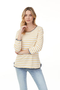 Charlie B Marigold Stripe Cotton Top