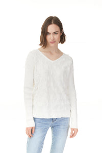 Charlie B Cream Cotton Knit Top