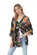 Load image into Gallery viewer, Charlie B Black Floral Reversible Kimono
