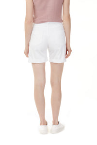 Charlie B White Denim Shorts with Roll Up Hem