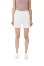 Load image into Gallery viewer, Charlie B White Denim Shorts with Roll Up Hem