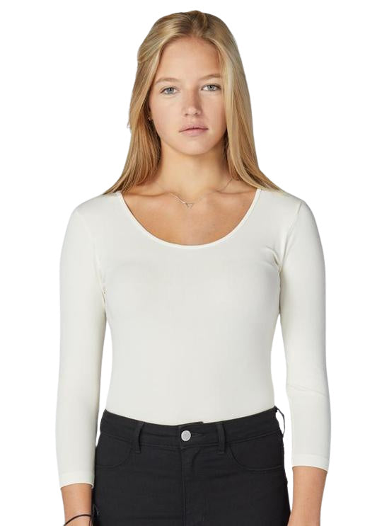 C'est Moi Scoop Neck 3/4 Sleeve Bamboo Top Ivory - Chic Thrills Boutique