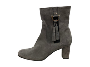 Ron White Suede Grey Boots With Heel - Chic Thrills