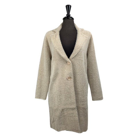 Lyla + Luxe Knit Coat with Beige and Camel Chevron Print - Chic Thrills