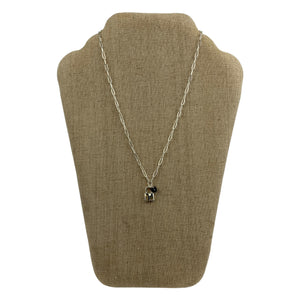 Faux Silver Lock and Heart Charmed Chain Necklace - Chic Thrills