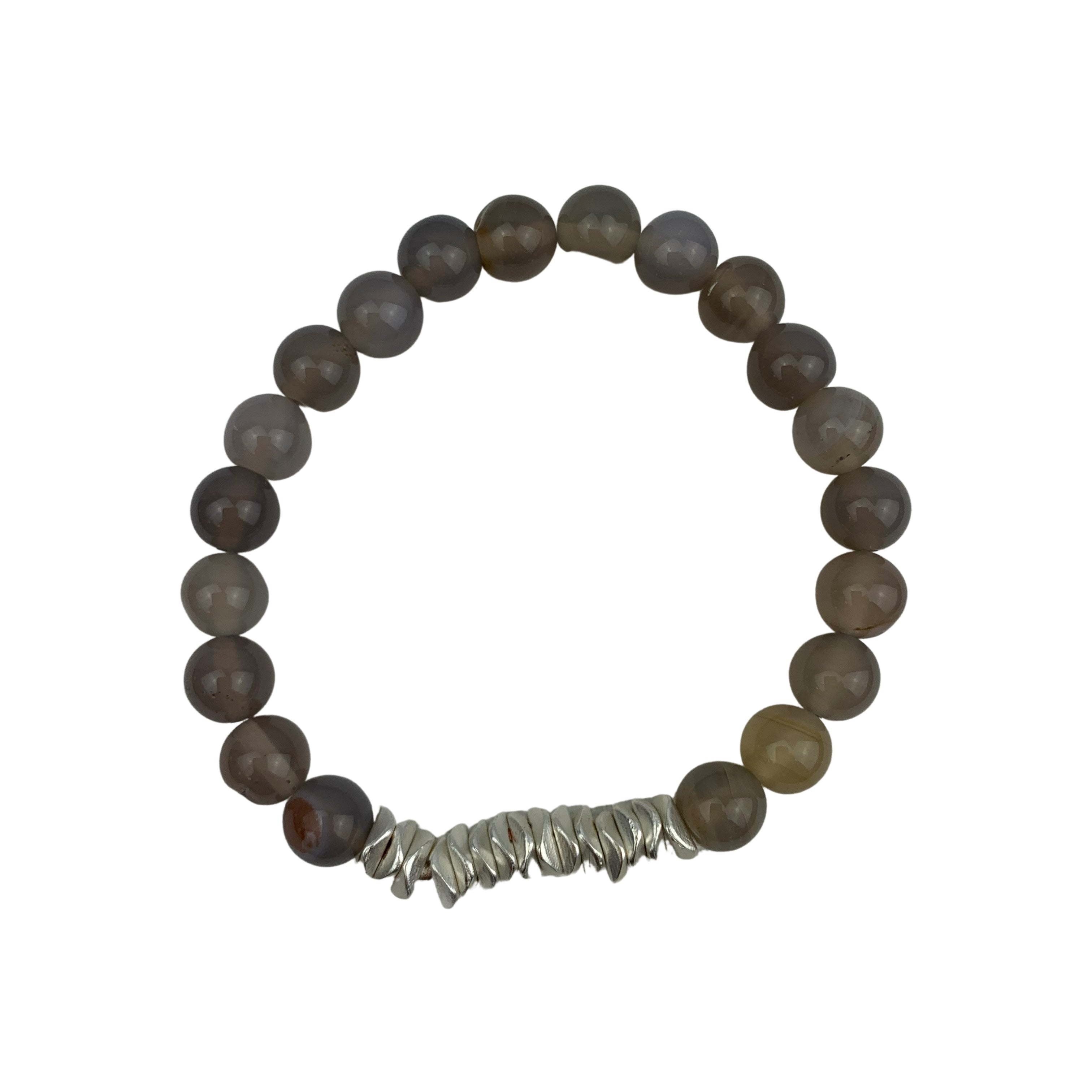 Merx Beaded Bracelet with Silver coloured pebbles - Chic Thrills