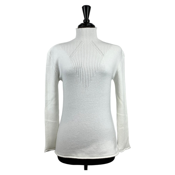 Charlie B White Funnel Neck Sweater - Chic Thrills