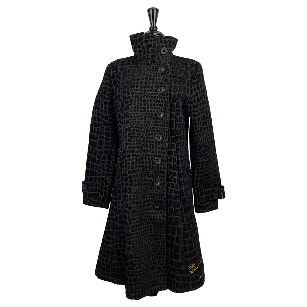 Desigual Black Alligator Print Coat - Chic Thrills Boutique
