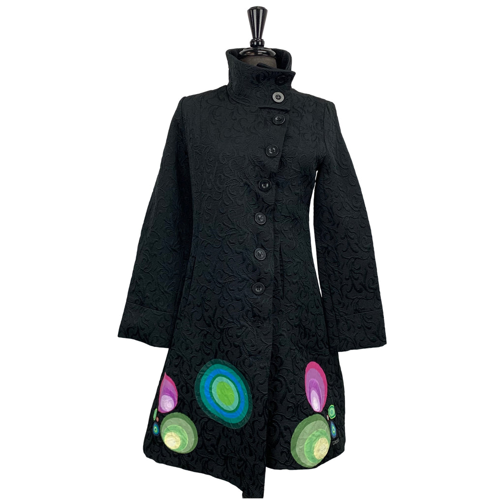 Desigual Black Jacquard Coat - Chic Thrills Boutique