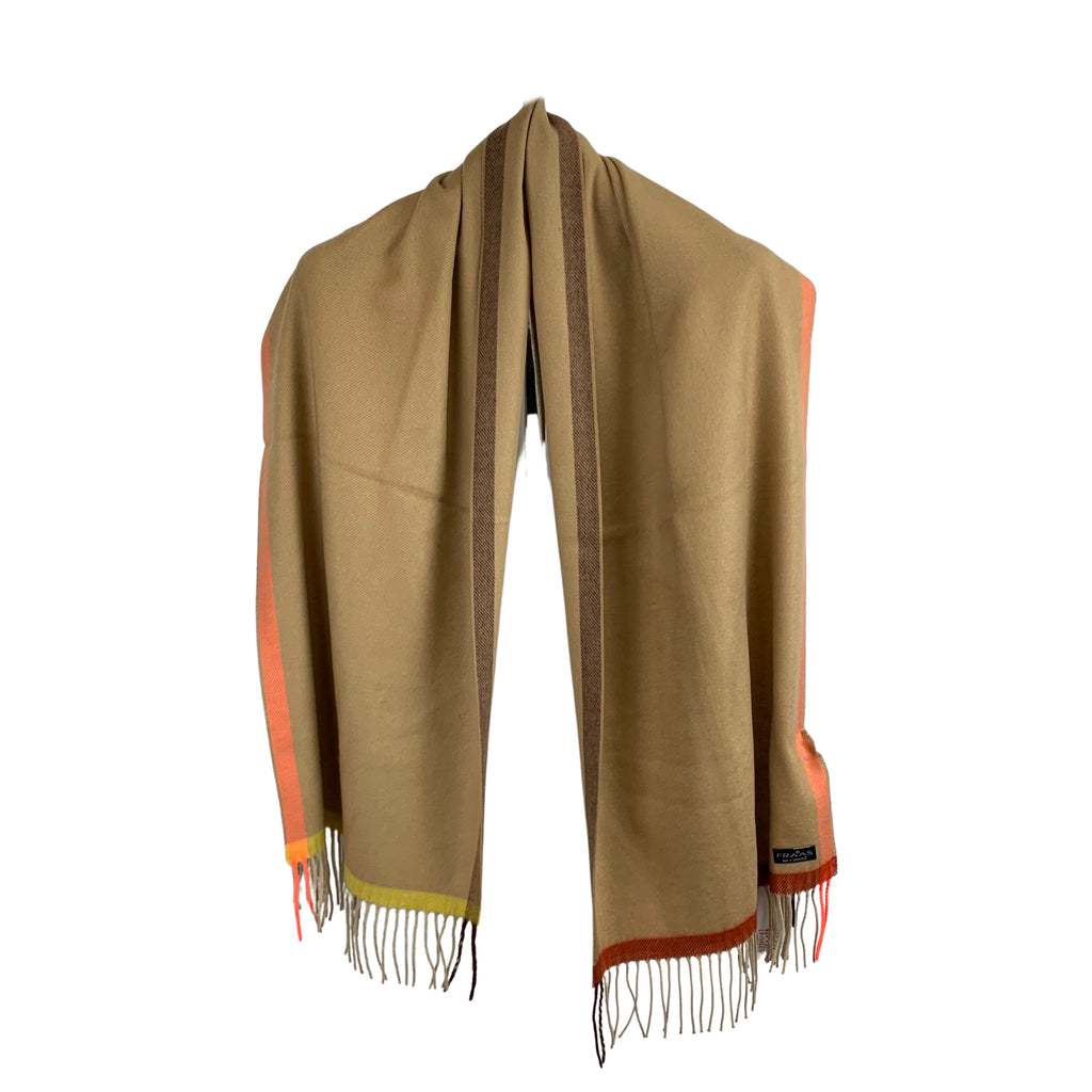 Fraas Camel Striped Cashmink Shawl - Chic Thrills