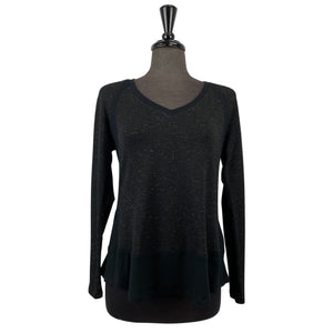 Melissa Nepton Black and Silver Speckled V-Neck Top - Chic Thrills Boutique