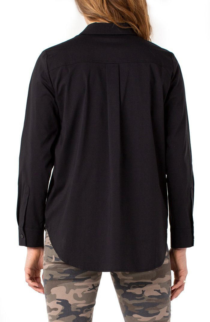 Liverpool LA Black Hidden Placket Shirt - Chic Thrills Boutique