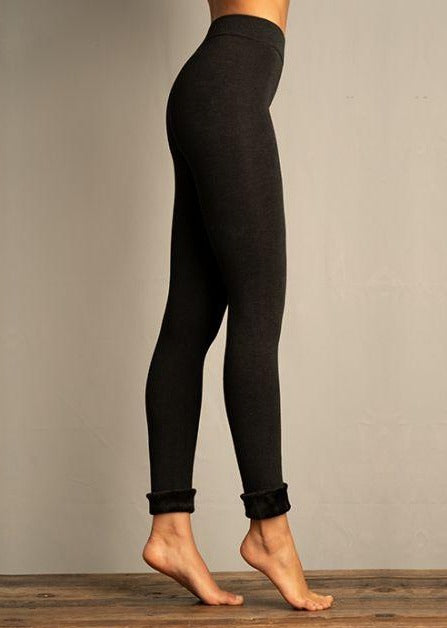 Lemon Fur Cuff Legging Charcoal - Chic Thrills Boutique